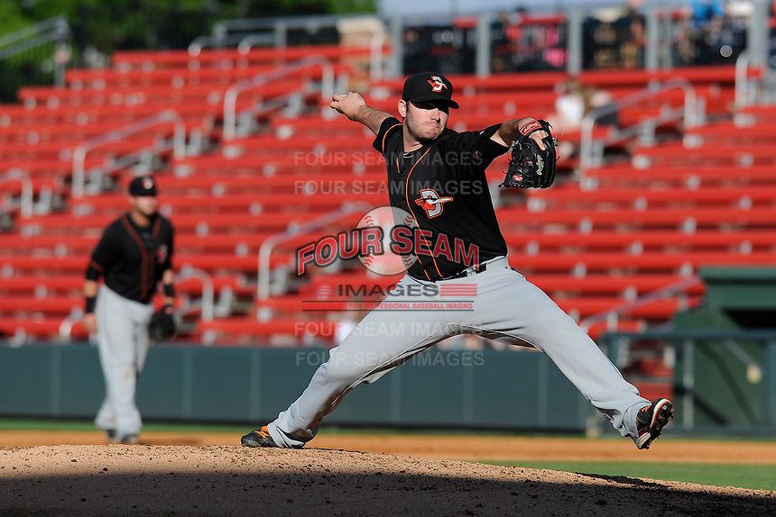 Pitcher Matthew Price (25) of the Delmarva Shorebirds in a game against the Greenville Drive on Monday, April 29, 2013, at Fluor Field at the West End in Greenville, South Carolina. Price pitched for the National Champion University of South Carolina Gamecocks. He was a seventh-round draft pick of the Baltimore Orioles in 2012. Delmarva won, 6-5. (Tom Priddy/Four Seam Images)