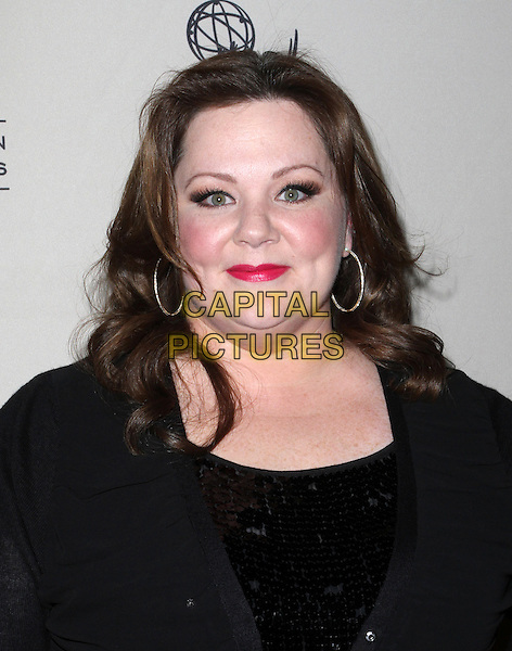 "Melissa McCarthy.Academy Of Television Arts And Sciences Presents An Evening With ""Mike & Molly"" Held At The Leonard Goldenson Theatre, North Hollywood, California, USA, 8th March 2012..portrait headshot red lipstick   black  hoop earrings sequined sequin .CAP/ADM/KB.©Kevan Brooks/AdMedia/Capital Pictures."