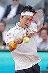 Japanese tennis player Kei Nishikori during Madrid Open Tennis 2014 singles final match. May 11, 2014. (ALTERPHOTOS/Victor Blanco)