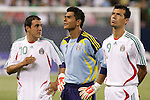 21 June 2007:  Mexico's Cuauhtemoc Blanco (10), Oswaldo Sanchez (1) and Jared Borgetti (9). The National Team of Mexico defeated Guadeloupe 1-0  in a CONCACAF Gold Cup Semifinal match at Soldier Field in Chicago, Illinois.