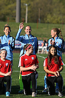 Piscataway, NJ, April 24, 2016.  Sky Blue goalkeeper Caroline Casey (27) waves to the crowd during player introductions.  The Washington Spirit defeated Sky Blue FC 2-1 during a National Women's Soccer League (NWSL) match at Yurcak Field.