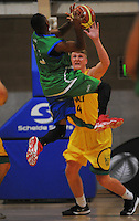 Action from the National Basketball Championships tournament match between Hutt Valley (gold) and Waitakere B (green) at Te Rauparaha Arena, Wellington, New Zealand on Friday, 14 November 2014. Photo: Dave Lintott / lintottphoto.co.nz