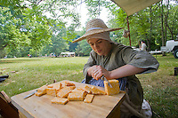 Camp follower reenactor, Revolutionary War, Monmouth Battlefield State Park, New Jersey