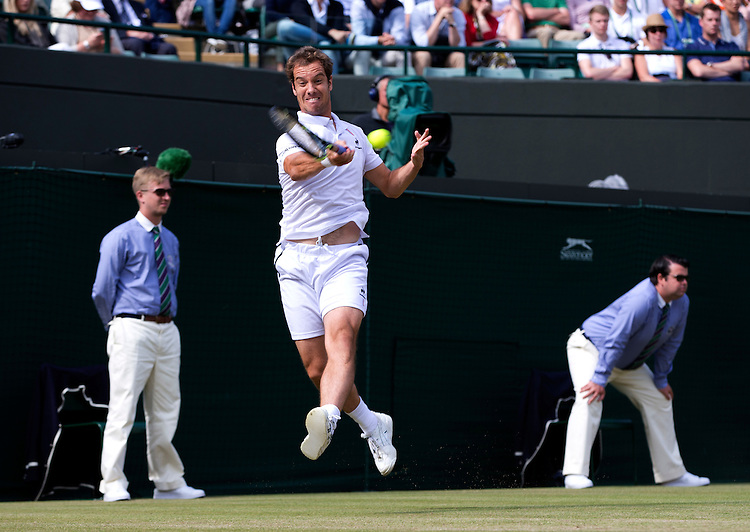 Richard Gasquet (FRA) [21] in action against Stan Wawrinka (SUI) [4] in their Gentlemen's Singles Fourth Quarter Final match today<br /> <br /> Photographer Stephen White/CameraSport<br /> <br /> Tennis - Wimbledon Lawn Tennis Championships - Day 9 - Wednesday 8th July 2015 -  All England Lawn Tennis and Croquet Club - Wimbledon - London - England<br /> <br /> &copy; CameraSport - 43 Linden Ave. Countesthorpe. Leicester. England. LE8 5PG - Tel: +44 (0) 116 277 4147 - admin@camerasport.com - www.camerasport.com.