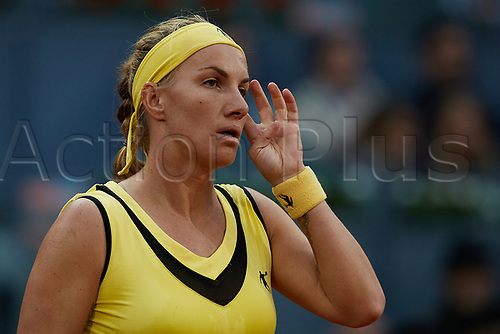 May 12th 2017, Caja Magica, Madrid, Spain; Mutua Madrid Open tennis tournament; Svetlana Kuznetsova of Russia reacts as she loses against Kristina Mladenovic of France in 2 sets