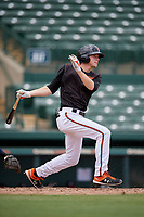 GCL Orioles Gunnar Henderson (9) at bat during a Gulf Coast League game against the GCL Braves on August 5, 2019 at Ed Smith Stadium in Sarasota, Florida.  GCL Orioles defeated the GCL Braves 4-3 in the second game of a doubleheader.  (Mike Janes/Four Seam Images)