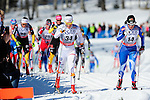 FALUN, SWEDEN - March 23: (R-L) Krista Lahteenmaki of Finland (FIN) and Emma Wiken of Sweden (SWE) during the Viessmann Ladies Classic Mass start 10km race at the FIS Cross Country World Cup Final on March 23, 2013 in Falun, Sweden. The race was won by Marit Bjoergen of Norway (NOR), 2nd place Therese Johaug of Norway (NOR) and 3rd place Heidi Weng of Norway (NOR). (Photo by Dirk Markgraf)