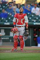 Memphis Redbirds Alberto Rosario (37) watches the flight of the ball during the Pacific Coast League game against the Iowa Cubs at Principal Park on June 6, 2016 in Des Moines, Iowa.  Memphis won 6-2.  (Dennis Hubbard/Four Seam Images)