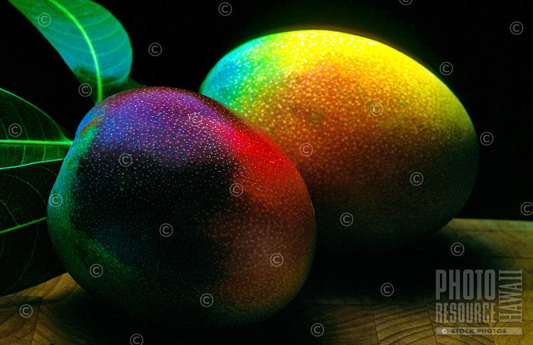 Two ripe mangos ready to eat