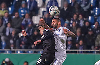 Victor Palsson (SV Darmstadt 98) gegen Marvin Wanitzek (Karlsruher SC) - 29.10.2019: SV Darmstadt 98 vs. Karlsruher SC, Stadion am Boellenfalltor, 2. Runde DFB-Pokal<br /> DISCLAIMER: <br /> DFL regulations prohibit any use of photographs as image sequences and/or quasi-video.
