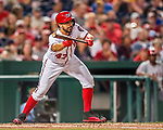 15 August 2017: Washington Nationals starting pitcher Gio Gonzalez sets to bunt against the Los Angeles Angels at Nationals Park in Washington, DC. The Nationals defeated the Angels 3-1 in the first game of their 2-game series. Mandatory Credit: Ed Wolfstein Photo *** RAW (NEF) Image File Available ***