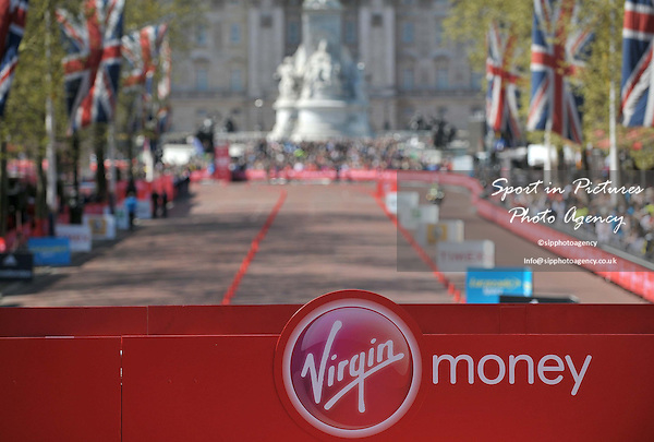 A photo of the mall with the Virgin Money banner in the foreground and the victoria memorial in the background. Virgin Money London Marathon. London. UK. 13/04/2014. MANDATORY Credit Garry Bowden/Sportinpictures - NO UNAUTHORISED USE - 07837 394578
