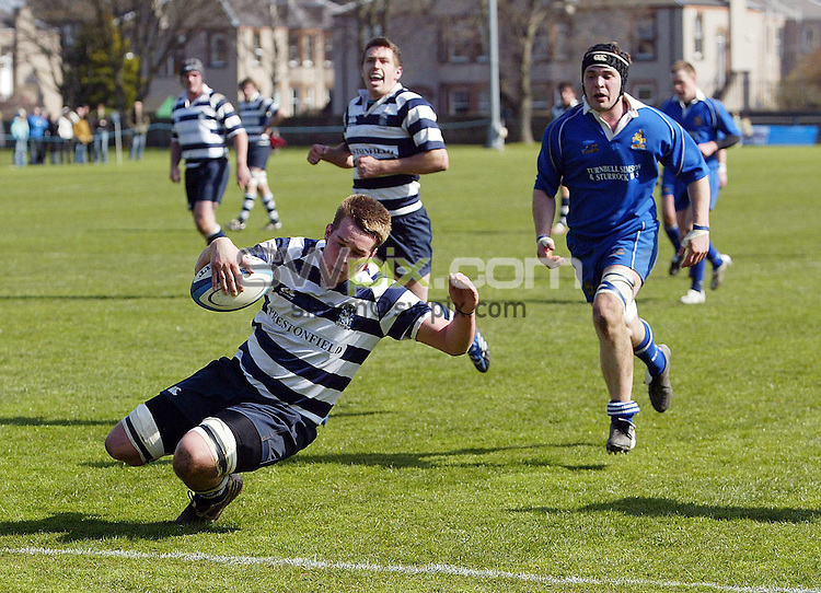 PICTURE BY VAUGHN RIDLEY/SWPIX.COM - Rugby Union - Scottish Hydro Electric National Cup Semi-Finals - Heriot's v Jed Forest - Goldenacre, Edinburgh, Scotland - 19/04/08...Copyright - Simon Wilkinson - 07811267706..Heriot's Craig Simmonds scores his squads first try.