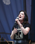 Laura Michelle Kelly performing at United presents 'Stars in the Alley' in  Shubert Alley on May 27, 2015 in New York City.
