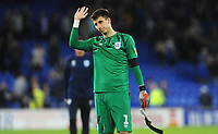 Huddersfield Town's Kamil Grabara applauds the fans at the final whistle <br /> <br /> Photographer Ian Cook/CameraSport<br /> <br /> The EFL Sky Bet Championship - Cardiff City v Huddersfield Town - Wednesday August 21st 2019 - Cardiff City Stadium - Cardiff<br /> <br /> World Copyright © 2019 CameraSport. All rights reserved. 43 Linden Ave. Countesthorpe. Leicester. England. LE8 5PG - Tel: +44 (0) 116 277 4147 - admin@camerasport.com - www.camerasport.com