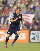 New England Revolution midfielder Chris Tierney (8) at midfield. In a Major League Soccer (MLS) match, the Los Angeles Galaxy defeated the New England Revolution, 1-0, at Gillette Stadium on May 28, 2011.
