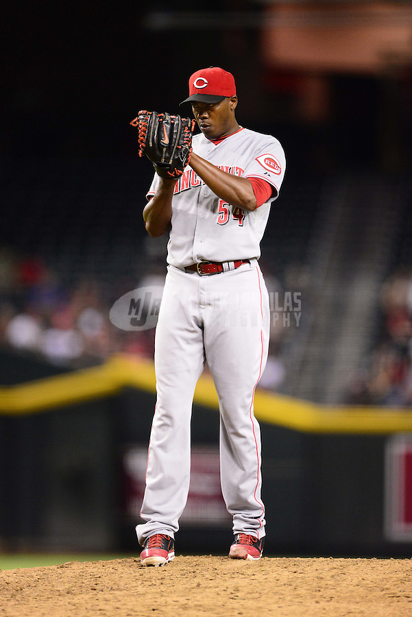 Aug. 28, 2012; Phoenix, AZ, USA: Cincinnati Reds pitcher Aroldis Chapman in the ninth inning against the Arizona Diamondbacks at Chase Field. Mandatory Credit: Mark J. Rebilas-