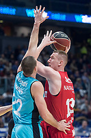 Movistar Estudiantes Niki Caner-Medley and Montakit Fuenlabrada Rolands Smits during Liga Endesa match between Movistar Estudiantes and Montakit Fuenlabrada at Wizink Center in Madrid, Spain. November 12, 2017. (ALTERPHOTOS/Borja B.Hojas) /NortePhoto.com
