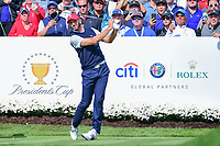 Dustin Johnson (USA) watches his tee shot on 4 during round 3 Four-Ball of the 2017 President's Cup, Liberty National Golf Club, Jersey City, New Jersey, USA. 9/30/2017.<br /> Picture: Golffile | Ken Murray<br /> <br /> All photo usage must carry mandatory copyright credit (&copy; Golffile | Ken Murray)
