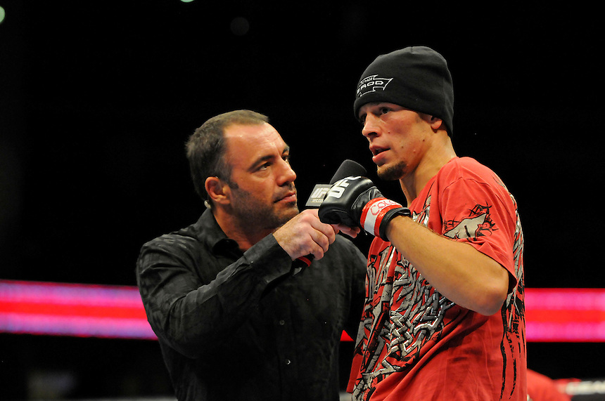 24 SEPTEMBER 2011:   Nate Diaz after his defeat of Takanori Gomi, speaks to Joe Rogan  during UFC 135 at the Pepsi Center in Denver, Colorado. *****For Editorial Use Only*****