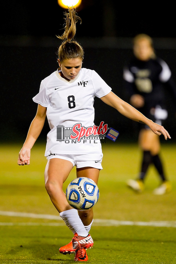 Ally Berry #8 of the Wake Forest Demon Deacons controls the ball during first half action against the Central Florida Knights during the quarterfinal round of the 2011 NCAA Women's College Cup at Spry Soccer Stadium on November 25, 2011 in Winston-Salem, North Carolina.  The Demon Deacons defeated the Knights 3-0 to advance to the Women's College Cup Final Four.    (Brian Westerholt / Sports On Film)