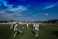 Boyds, MD. - Saturday, June 24 2017:  Portland thorns warm up before a regular season National Women's Soccer League (NWSL) match between the Washington Spirit and the Portland Thorns FC at Maureen Hendricks Field, Maryland SoccerPlex.<br />  The Washington Spirit defeated the Portland Thorns FC 1-0.