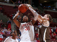 Ohio State Buckeyes guard Raven Ferguson (31) goes up against Lehigh Mountain Hawks forward Alexandra Yantzi (11) during the second half of the NCAA women's basketball game at Value City Arena on Wednesday, November 27, 2013. (Columbus Dispatch photo by Jonathan Quilter)