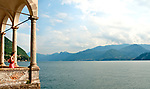 Looking out at Lake Como, Italy from the Villa Monastero Gardens in Varenna