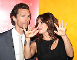 Matthew McConaughey & Gina Gershon backstage at 'TimesTalks: Stage To Screen' with David CarrNew York City on 7/24/2012.