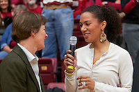 STANFORD, CA:  Rosalyn Gold-Onwude interviews Head Coach Tara VanDerveer after Stanford's 77-40 victory over Fresno State at Stanford, California on December 12, 2010.