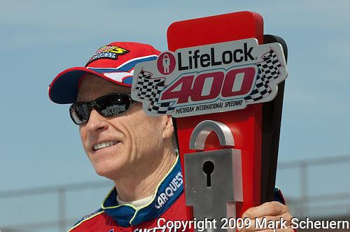 June 14 2009:  LifeLock 400 winner Mark Martin at Michigan International Speedway in Brooklyn, MIchigan.