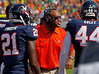 Virginia head coach Mike London Oregon defeated Virginia 59-10 during an NCAA college football game at Scott Stadium, Saturday, Sept. 7, 2013, in Charlottesville, Va. (Photo/Andrew Shurtleff)