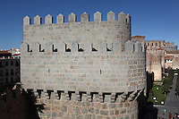 Fortified tower, City Wall, 11th-14th centuries, Avila, Castile and Leon, Spain. The 2.5km wall, with 88 semi-circular towers and nine gates, is one of the most complete city walls in Spain. Picture by Manuel Cohen