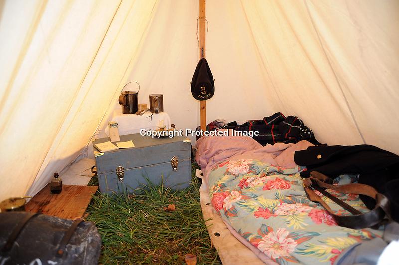 Civil War Reenactment Union Camp Tent Interior
