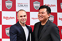 Vissel Kobe's new signing Andres Iniesta and Vissel Kobe owner Hiroshi Mikitani attend a press conference in Tokyo, Japan on Thursday, May 24, 2018.<br /> Barcelona legend playmaker announced he has signed with J-League first-division side Vissel Kobe. <br /> (Photo by Naoki Nishimura/AFLO SPORT)