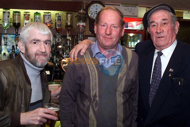 John Sharkey, Clogherhead, Richard Lynch, Dromin and Peter Sharkey, Clogherhead, enjoy an afternoon in the Harbour bar in Clogherhead..Picture: Newsfile