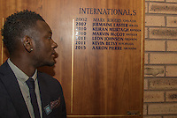 Aaron Pierre of Wycombe Wanderers stands beside his name after making his debut for Grenada this week during the Sky Bet League 2 match between Wycombe Wanderers and Plymouth Argyle at Adams Park, High Wycombe, England on 12 September 2015. Photo by Andy Rowland.