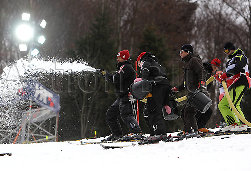 05.01.2012 Zagreb, Croatia.  Ski Alpine FIS World Cup Slalom the men Night slalom Picture shows Runs workers