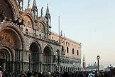 ITALY, Venice. Crowd of Tourists in front of the St. Mark's Basilica in St. Mark's Square.