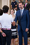 "King Felipe VI of Spain and Queen Letizia of Spain attends a reception to the students participating in the X edition of the program ""Scholarships Europe"" at the University Francisco de Vitoria at Zarzuela Palace in Madrid, July 17. 2015.<br />  (ALTERPHOTOS/BorjaB.Hojas)"