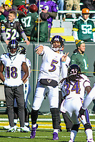 Baltimore Ravens quarterback Joe Flacco (5) during a National Football League game against the Green Bay Packers on November 19th, 2017 at Lambeau Field in Green Bay, Wisconsin. Baltimore defeated Green Bay 23-0. (Brad Krause/Krause Sports Photography)