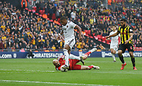 Wolverhampton Wanderers' Ivan Cavaleiro beats Watford's Heurelho Gomes but was unable to find the net <br /> <br /> Photographer Rob Newell/CameraSport<br /> <br /> Emirates FA Cup Semi-Final  - Watford v Wolverhampton Wanderers - Sunday 7th April 2019 - Wembley Stadium - London<br />  <br /> World Copyright © 2019 CameraSport. All rights reserved. 43 Linden Ave. Countesthorpe. Leicester. England. LE8 5PG - Tel: +44 (0) 116 277 4147 - admin@camerasport.com - www.camerasport.com