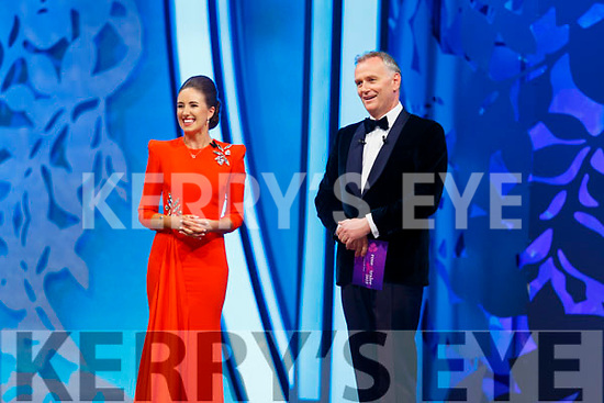 2019 Kerry Rose, Causeway's Sally Ann Leahy on stage with Daithi O'Se at the Dome on Tuesday night.