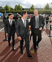 Pictured: Cameron Toshack (R) arrives Wednesday 20 May 2015<br /> Re: Swansea City FC Awards Dinner at the Liberty Stadium, south Wales, UK