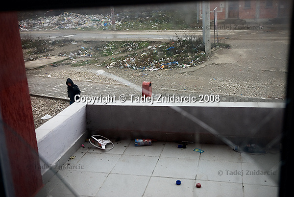 View from a window of one of the new apartment blocks in the Roma Mahala in southern Mitrovica. The blocks were built for Roma people as a part of the plan for their return to Mahala.