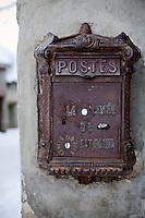 Postbox in Bonneval sur Arc, Savoie, France, 17 February 2012.