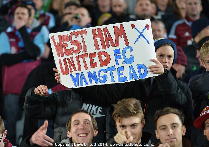 Fans in the stands during the Football United Tour match between Wellington Phoenix and West Ham United at Eden Park, Auckland, New Zealand on Wednesday, 23 July 2014. Photo: Dave Lintott / lintottphoto.co.nz