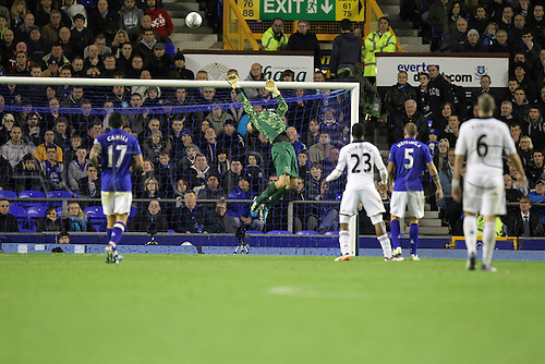 26.10.2011. Liverpool, England. Jan Mucha saves in the Carling Cup match between Everton and Chelsea at Goodison Park. Mandatory Credit ActionPlus.