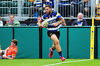 Matt Banahan of Bath Rugby runs in a first half try. Aviva Premiership match, between Bath Rugby and Newcastle Falcons on September 10, 2016 at the Recreation Ground in Bath, England. Photo by: Patrick Khachfe / Onside Images