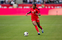 CARSON, CA - FEBRUARY 9: Ashley Lawerance #10 of Canada moves with the ball during a game between Canada and USWNT at Dignity Health Sports Park on February 9, 2020 in Carson, California.